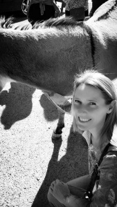 Me & a burro. I wanted to kiss it on the eyeball, but it was eating.